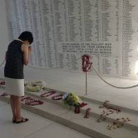 This photo posted on Akie Abe's Facebook account shows her at the USS Arizona Memorial in Honolulu on Monday. She paid respects to victims of the Pearl Harbor attack by Imperial Japanese forces on Dec. 7, 1941.
