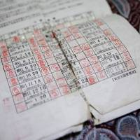 Renewal stamps are seen on the provisional release form belonging to Kurd Mahmut Colat at his flat in Warabi, Saitama Prefecture, on March 21.   REUTERS