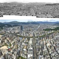 A combinatioin of five photos that were restored recently shows the devastation of Hiroshima following the 1945 atomic bombing of the city; A panoramic photo shows the present Hiroshima seen from the same spot. | KYODO