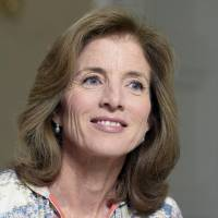 U.S. Ambassador to Japan Caroline Kennedy speaks during an interview at the ambassador's residence in Tokyo on Thursday. | KYODO