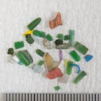 A photo shows microplastics smaller than 5 mm collected by a research team from Tokyo University of Agriculture and Technology in Tokyo Bay.   KYODO