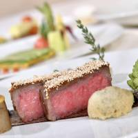 Wagyu steak is part of the course offered on the Train Suite Shiki-Shima luxury sleeper train slated to debut in May.   KYODO