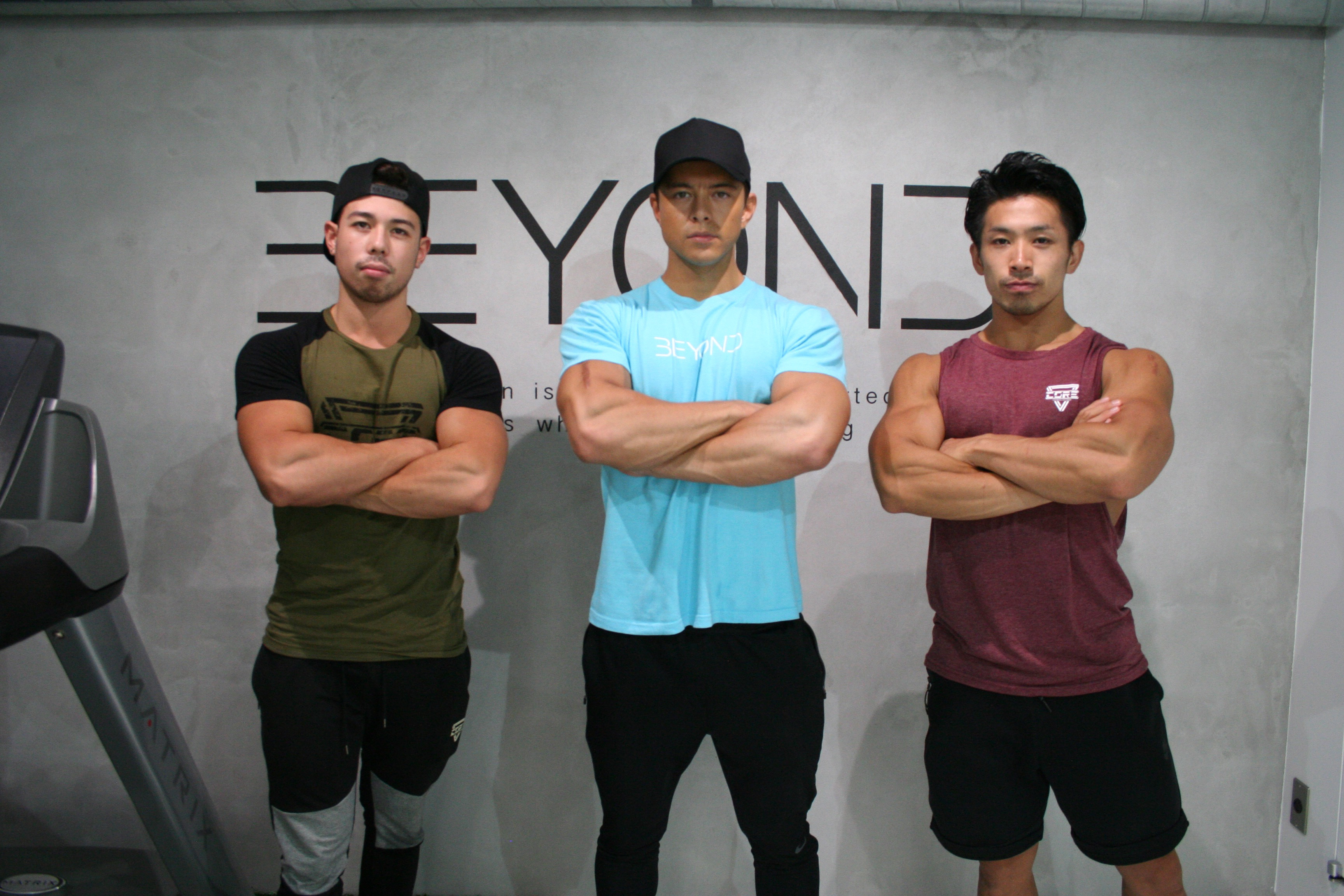Fighting fit: Shun Kaneko, Edward Kato and Yukihiro Yuasa present a different figure to the svelte physiques of young men who appear on Japanese TV and in magazines. They're hoping to show others that physiques come in many different sizes. | ALISA YAMASAKI