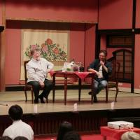 Forest pitch: C.W. Nicol is joined on stage by Ryoichi Yuki, president of Edo Wonderland, during a lecture he gave to more than 100 of the theme park's staffers on the benefits of managing its woodlands the Edo Period way. | COURTESY OF EDO WONDERLAND