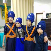 Children in traditional dress celebrate the 317th anniversary of the foundation of the Khalsa Sikh fraternity at the Tokyo gurdwara. | COURTESY OF SIKHI COMMUNITY JAPAN