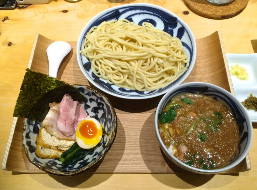 Deluxe noodles: The rich sauce for the tsukesoba dipping noodles at Kazami is made with aromatic sake lees. | ROBBIE SWINNERTON