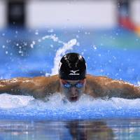 Kosuke Hagino swims during a men's 200-meter individual medley heat during the Rio Olympics on Wednesday. | AFP-JIJI