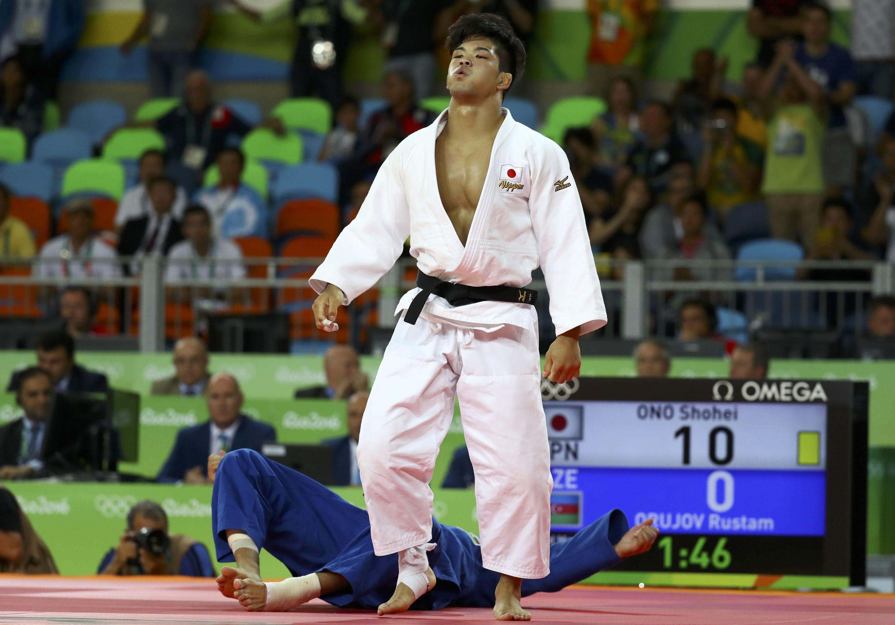 Shohei Ono of Japan reacts Monday after defeating Azerbaijan's Rustam Orujov to win Olympic gold in Rio. | REUTERS
