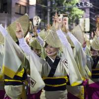 Hands up: Dancers from the Suicoren troupe perform at the 2010 Tokyo Koenji Awa Odori festival.   JAMES HADFIELD