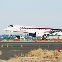 A Mitsubishi Regional Jet lands at Grant County International Airport at Moses Lake, Washington, on Wednesday. It will be joined by three others for certification testing. | KYODO