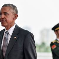 U.S. President Barack Obama arrives at the Hangzhou Exhibition Center to participate to Group of 20 summit, in Hangzhou, China, on Sunday. | REUTERS