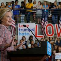 Clinton reflective on return to campaign, slamming bigotry in North Carolina