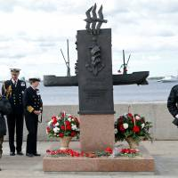 Britain's Princess Anna looks at a memorial to the participants of the Arctic Convoys during festive commemorations for the 75th anniversary of the arrival of the first allied Arctic Convoy, Operation Dervish, at the northern port of the Soviet Union during World War II, in Arkhangelsk, Russia, Wednesday | REUTERS