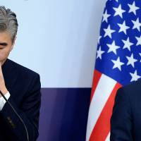 Sung Kim (left), the U.S. State Department's top envoy on North Korea, attends a news conference with his South Korean counterpart, Kim Hong-kyun, in Seoul on Tuesday. | REUTERS