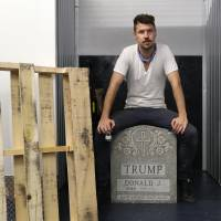Brooklyn gallery displays artist's police-seized 'Trump Tombstone'