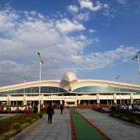 The new terminal at Ashgabat's international airport is seen Saturday, the day it was opened. The project is part of Turkmenistan's goal of becoming a 'transport bridge' between Europe and Asia. | AFP-JIJI