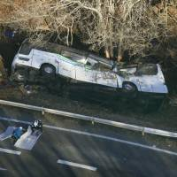 Fifteen people were killed when this overnight ski bus ran off the road in Karuizawa, Nagano Prefecture, in January. | KYODO