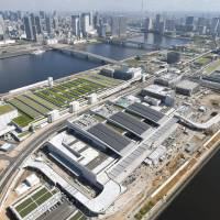 The new Toyosu wholesale food market in Tokyo's Koto Ward is seen from above in July. | KYODO