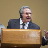 Cuban President Raul Castro holds a news conference in Havana in March.   AP / KYODO