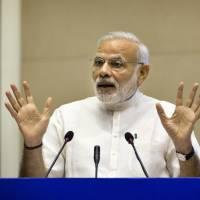 Indian Prime Minister Narendra Modi speaks at a two day conference on India sanitation in New Delhi on Friday. | AP