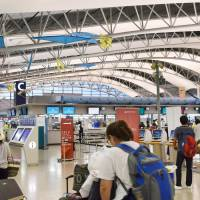 The international departure lobby of Kansai International Airport in Osaka Prefecture is seen Saturday. | KYODO