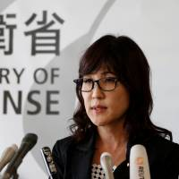 Defense Minister Tomomi Inada speaks at a news conference held at the Defense Ministry in Tokyo on Friday after discussing North Korea's nuclear test with Prime Minister Shinzo Abe and other ministers. | REUTERS