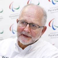 Philip Craven, president of the International Paralympic Committee, is interviewed in Rio de Janeiro on Monday. | KYODO