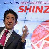 Prime Minister Shinzo Abe speaks during a Reuters Newsmaker conversation in New York on Wednesday. | REUTERS
