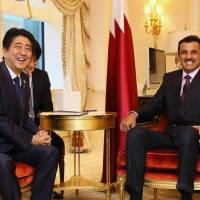In New York, Abe talks with Qatari, Colombian, Afghan leaders