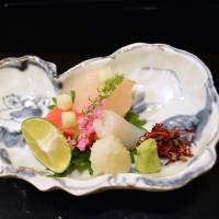 Bite-sized bliss: The sashimi course at Moirwaki includes servings of kinmedai (splendid alfonsino) and chū-toro (tuna belly-flesh). | J.J. O'DONOGHUE