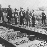 Aggressive action: Following the 1931 Mukden Incident — when Japanese troops exploded dynamite near their train tracks, blamed it on the Chinese and used this as a pretext to invade and pacify Manchuria — Japanese experts gathered to inspect the scene of the 'railway sabotage' on the railway line. | PUBLIC DOMAIN