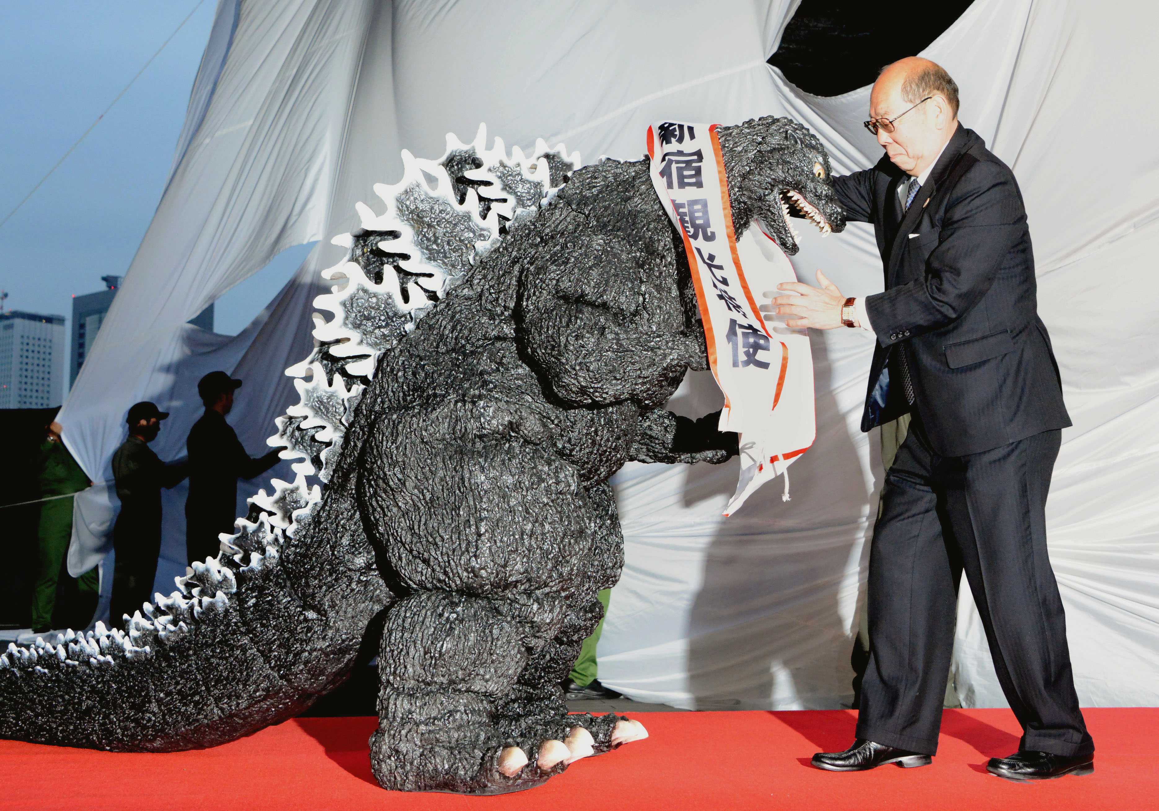 King of the monsters: Godzilla received a special award for his role in helping tourism in Shinjuku after a model of the monster's head was erected in Tokyo's Kabukicho district. | KYODO