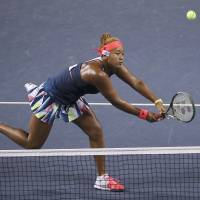 Naomi Osaka plays a shot againt Aliaksandra Sasnovich in the Pan Pacific Open quarterfinals on Friday at Ariake Colosseum. Osaka advanced with a 6-3, 7-6 (8-6) win. | AP