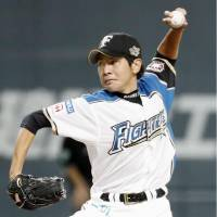 Fighters starter Masaru Takeda pitched to one batter in his retirement game on Friday. | KYODO