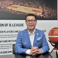 B. League chairman Masaaki Okawa, seen in his Tokyo office, envisions a future in which basketball is one of Japan's major sports and is expecting the country's new professional circuit to lead the way. | YOSHIAKI MIURA