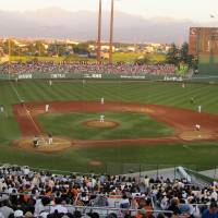 Alpen Stadium in Toyama is one of Japan's nicer countryside ballparks with an artificial turf field that feels like real grass.   WAYNE GRACZYK