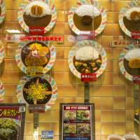 A shop window displays an array of plastic food displays, representing the curries on the menu.    ISTOCK