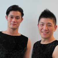 They bang the drums: Drummer Masayuki Sakamoto (left) and Kodo Ensemble Leader Yuichiro Funabashi are currently touring 'Rasen' ('Spiral') across Japan. | NOBUKO TANAKA