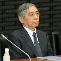 Bank of Japan Gov. Haruhiko Kuroda appears tense during a quarterly meeting of the central bank's branch managers in Tokyo on Monday. | KYODO