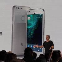 Google hardware team head Rick Osterloh introduces a new Pixel smartphone fielded in a direct challenge to Apple iPhone at a press event in San Francisco Tuesday. | AFP-JIJI