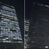 This combo photo shows the brightly lit head office building of Dentsu Inc. in Tokyo at 10 p.m. on Friday (left) and the same building with most of its lights off at 10:05 p.m. on Monday. Dentsu began to turn all lights off at 10 p.m. to reduce overtime work. | KYODO