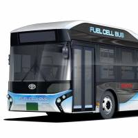 Toyota Motor Corp. will start selling fuel cell buses, like the one in this photo, in Japan from 2017. | TOYOTA / VIA KYODO