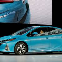 A Toyota Prius Prime appears at a media preview of the 2016 New York International Auto Show in March. | REUTERS