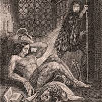 The steel engraving for the frontispiece to the revised edition of 'Frankenstein' by Mary Shelley, published in London in 1831, shows Victor Frankenstein becoming disgusted at his creation. The engraving by Theodore Von Holst (1810-1844) is now at the Tate Britain.