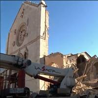 This TV grab released by Sky Tg24 shows the destroyed basilica in the town of Norcia following Sunday's magnitude-6.6 earthquake. | AFP-JIJI