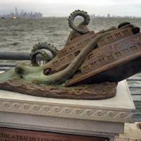 Monument to ferry dragged down by octopus fools tourists to New York
