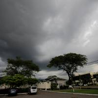 Dark clouds gather as Hurricane Matthew approaches in Kingston Sunday. | REUTERS