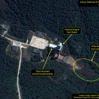 Satellite imagery taken Oct. 1 shows what appears to be continuing work at the vertical engine test stand at North Korea's Sohae satellite launching station. Analysts said this could indicate preparations for a new engine test. | AFP-JIJI