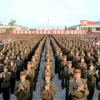 A Pyongyang square hosts a rally in celebration of a recent nuclear test, in this undated photo released on Sept. 13. | REUTERS