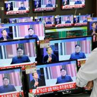 TV sets show a news report about North Korea's fifth nuclear test in a Seoul store on Sept. 9. | REUTERS